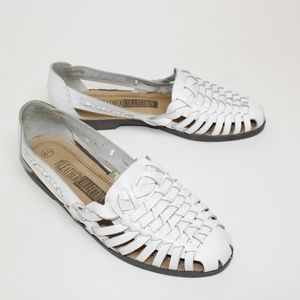 90's Style White Leather Woven Sandals Shoes